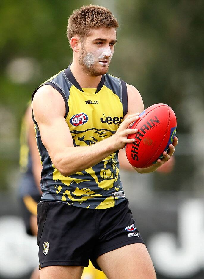 MELBOURNE, AUSTRALIA - JANUARY 15: Anthony Miles of the Tigers in action during the Richmond Tigers training session at Punt Road Oval, Melbourne on January 15, 2016. (Photo: Adam Trafford/AFL Media)